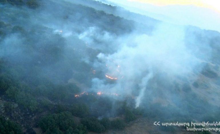 Տեսանյութ. Հրդեհ Բյուրական գյուղի մերձակայքում, այրվել է 80հա մակերես