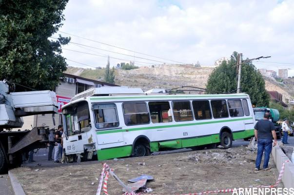 Երևանում տրոլեյբուսի վթարի հետևանքով հոսպիտալացված 6 քաղաքացիների կյանքին վտանգ չի սպառնում