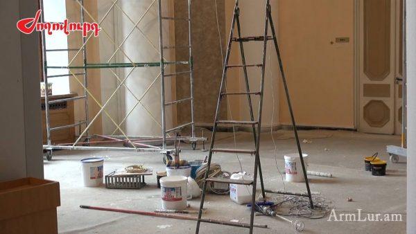 ՖՈՏՈ. Կառավարության շենքում վերանորոգման աշխատանքներ են. պատրաստվում են Մեդվեդևի այցին. «Ժողովուրդ»