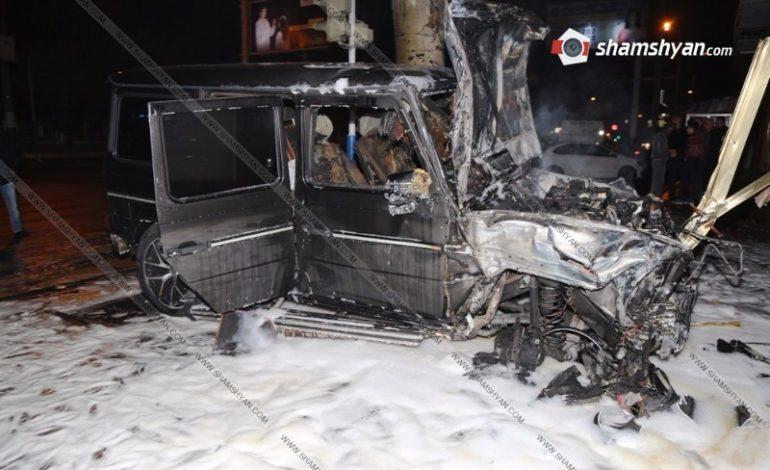 ՖՈՏՈՇԱՐՔ. Խոշոր ավտովթար-հրդեհ Երևանում. «Հարսնաքար»-ի մոտ բախվել են «յաշիկն» ու Hyundai-ը