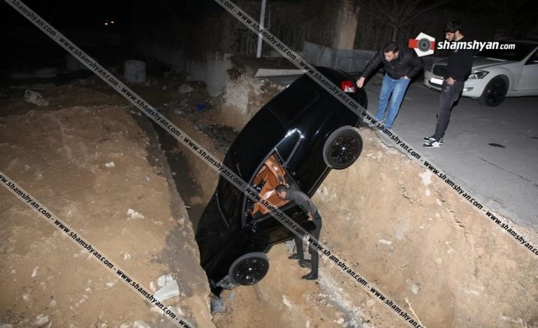 ՖՈՏՈ. Ավտովթար Երևանում. 32-ամյա վարորդը Bentley-ով հայտնվել է փոսում