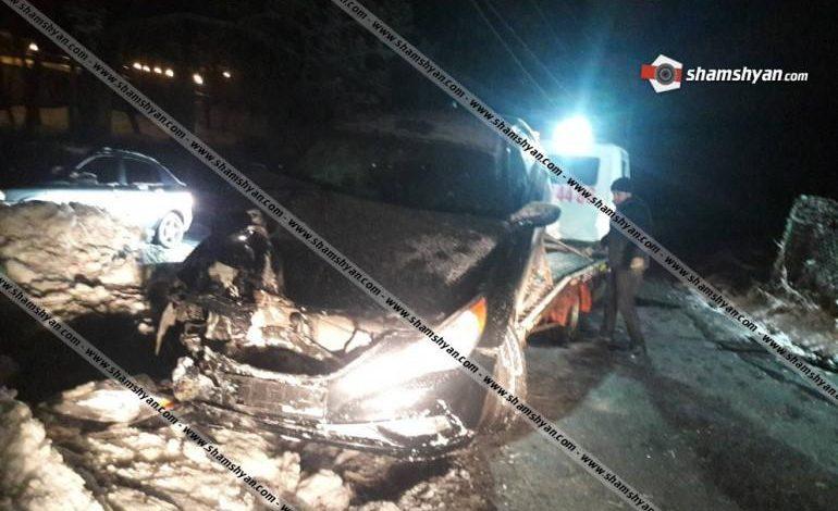 Ավտովթար  Ծաղկաձորու. Hyundai ավտոմեքենան բախվել է բետոնե էլեկտրասյանը