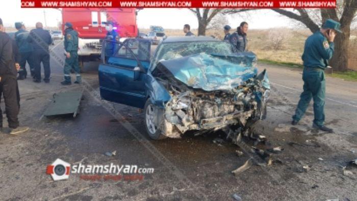Ողբերգական ավտովթար. վարորդը տեղում մահացել է, նրա կինը, 3 երեխաներն ու մյուս վարորդը  տեղափոխվել են հիվանդանոց