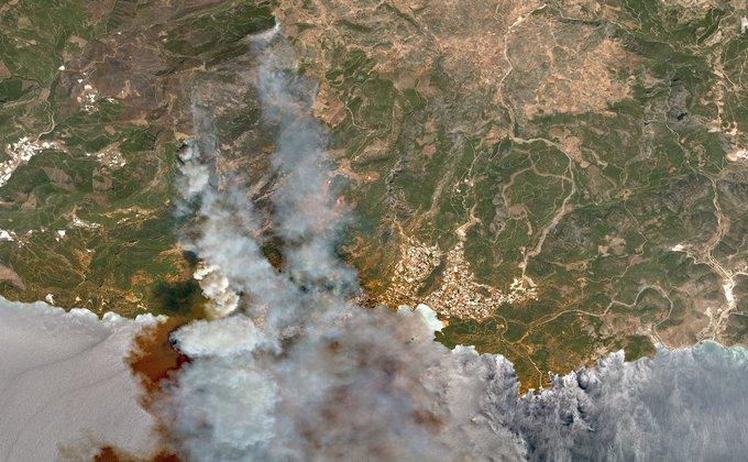 Թուրքիայի անտառային հրդեհների արբանյակային լուսանկարները