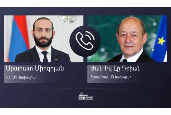 ՀՀ և Ֆրանսիայի ԱԳ նախարարները հեռախոսազրույցի ընթացքում անդրադարձել են ԼՂ հակամարտության խաղաղ կարգավորման գործընթացին
